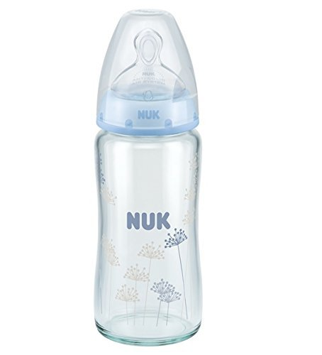 NUK FIRST CHOICE+ Glass Baby Bottle 240 ml Size 1 Medium 0 -