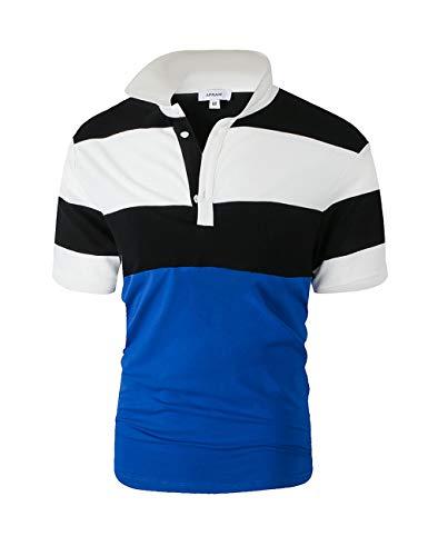 APRAW Polo Shirts for Men Regular Fit Golf Polos for Men (Large, Black)