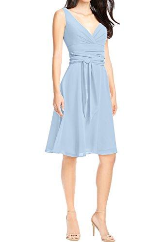 Ivydressing Mini V Ausschnitt Abendkleid zwei Ballkleid Elegant Festkleid Linie Schaerpe A Partykleid Chiffon Traeger Hellblau rxqpCrgwH