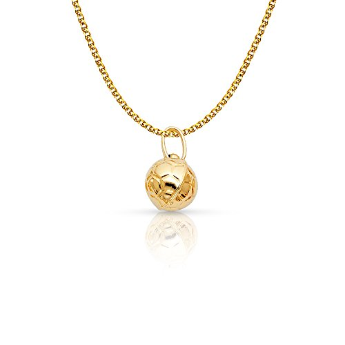 14K Yellow Gold Plain Soccer Ball Charm Pendant with 1.5mm Flat Open Wheat Chain Necklace - 18