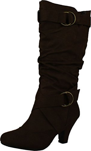Kitty Brown Womens Shoes - CC Maggie-38 Women Knee High Kitty Heels Wide Shaft Boots,Brown,6