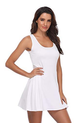 32e-SANERYI Women's Sleeveless Dress with Mesh Design A-line Flared Tank Dress for Girls-wm White