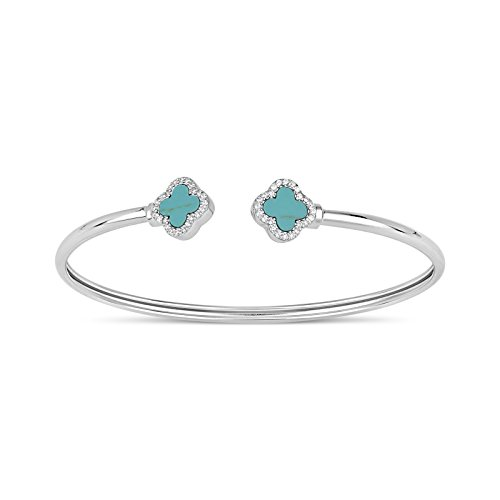Sterling Silver Double Stabilized Turquoise With Cubic Zirconia Clover Open Cuff Bangle