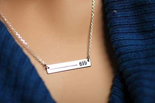 Thin Blue Line Personalized Necklace For Police Wives In 14K Gold Fill, Rose Gold Fill Or Sterling Silver. Custom Law Enforcement Badge Number With Blue, Red, Black Line. Rectangle Bar ()