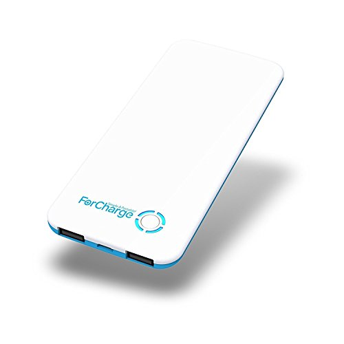 Super Slim! Stylish Ultra Thin 5000mAh Li-Polymer Portable Charger, Soft Touch Finished in Ultra Thin Design for iPhone 7, Samsung, iPad mini, Rubber Oil Finish (White&Blue) by Forcharge