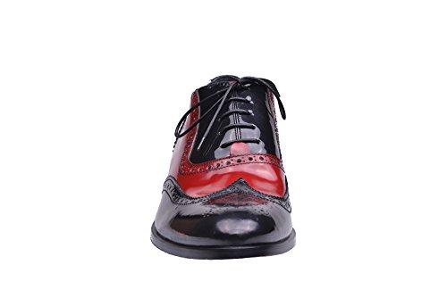 Morresi - Zapatillas de estar por casa de Piel para hombre negro rojo