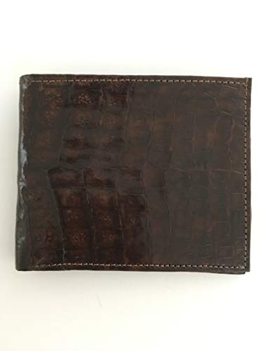 Handmade Men's Genuine 100% Alligator Skin Wallet Gold Cross Lining