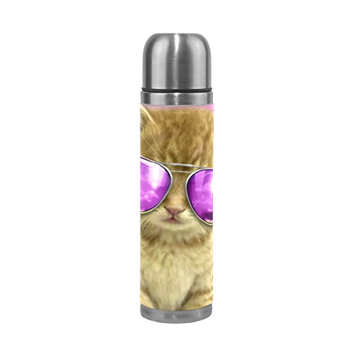 Eagles Steel Thermos Stainless (Thermos 17.5oz Coolest Cat Custom Double Wal Vacuum Insulated Stainless Steel Water Bottle for Kids Adults)