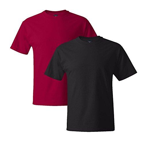 Hanes Mens 5180 Short Sleeve Beefy T, 1 Black/1 Deep Red 3XL