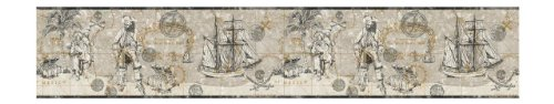 York Wallcoverings ZB3101B Pirate Map Border, Black/Charcoal/Silver/Dove Gray/Soft Gold