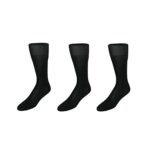CTM Men's Silk Over the Calf Dress Sock (3 Pair Pack), Black (Silk Slacks)