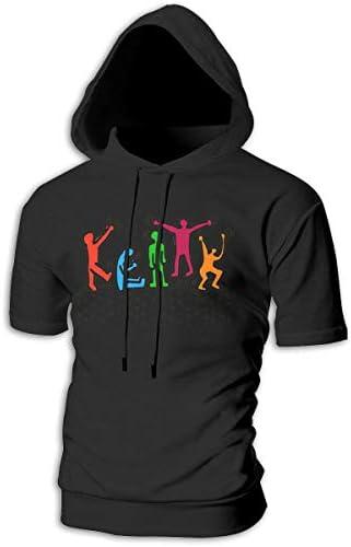Tシャツ シャツ ティーシャツ スウェットシャツ パーカー ストレッチ メンズ 半袖 フード付き キース ヘリング スポーツtシャツ 吸汗速乾 トレーニング ジムtシャツ 通気性 黒