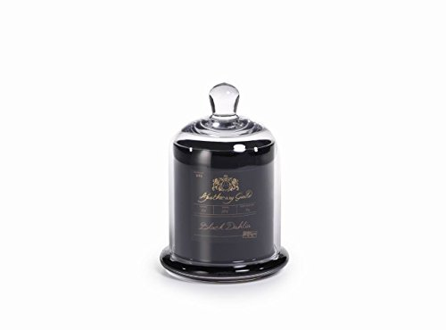(Medium Glass Jar Candle with Bell Cloche, Black Dahlia Scent)