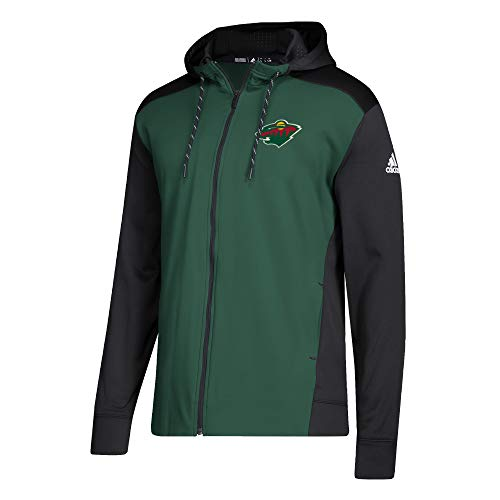 adidas NHL Mens 2018 Fleece Full Zip Pullover (Large, Minnesota Wild)