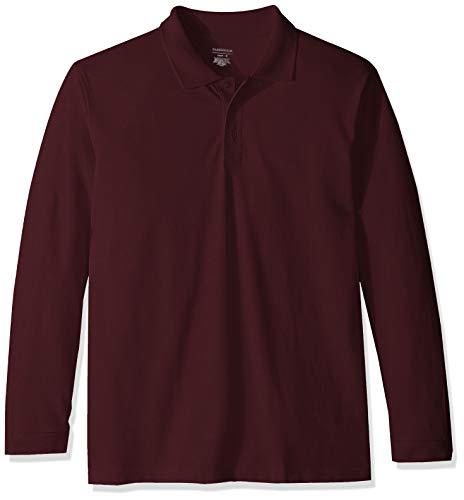(Classroom School Uniforms Men's Adult Unisex Long Sleeve Pique Polo, Wine, M)