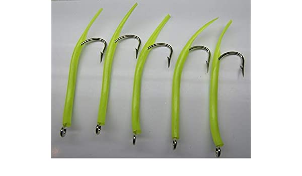 Saltwater fishing 5 pack  12//0 31022 Mustad Glow Tube hooks Striper jig lure UV