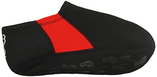 Nufoot Booties Men's Shoes, Best Foldable & Flexible Footwear, Fold and Go Travel Shoes, Yoga Socks, Indoor Shoes, Slippers, Black with Red Stripe, Large