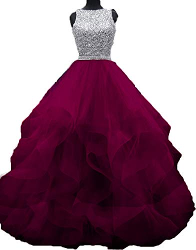 (Bonnie Gorgeous Beaded Bodice Prom Dresses 2018 Long Sexy Open Back Ball Gowns Ruffled Tulle Formal Evening Dress BS005)