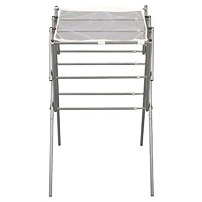Household Essentials 5127 Collapsible Expandable Metal Clothes Drying Rack - Dry Wet Laundry Indoors - Satin Silver - Laundry drying stand with 9 expandable drying rods providing up to 23 ft of energy saving drying space Rods expand from 20 inches up to 34.5 inches providing optimal drying area and saves space when not in use Folds away for easy storage when not in use - laundry-room, entryway-laundry-room, drying-racks - 31TaCwtU6nL. SS400  -