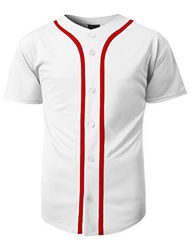Hat and Beyond Mens Baseball Team Jersey Button Down T Shirts Plain Short Sleeve Top (Large, 1up01_White/Red) ()