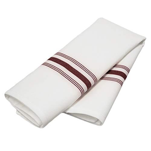 (TableLinensforLess Spun Polyester Bistro Napkin, 18 in x 22 in Set of 6 (White w/Maroon Stripes) )