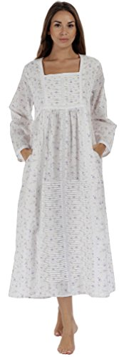 - The 1 for U Nightgown 100% Cotton Womens Long Nightie with Pockets - Esther (Lilac, Large)