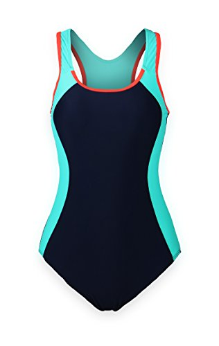 ReliBeauty Women's Backless Splice One Piece Swimsuit (Large(US8-10), Navy)