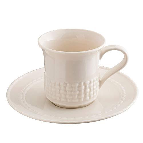 Belleek Galway Weave Cup & Saucer, Set of 4