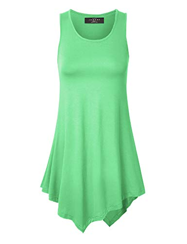 Made By Johnny MBJ WT671 Womens Handkerchief Hem Tank Tunic Top XXXXL Mint