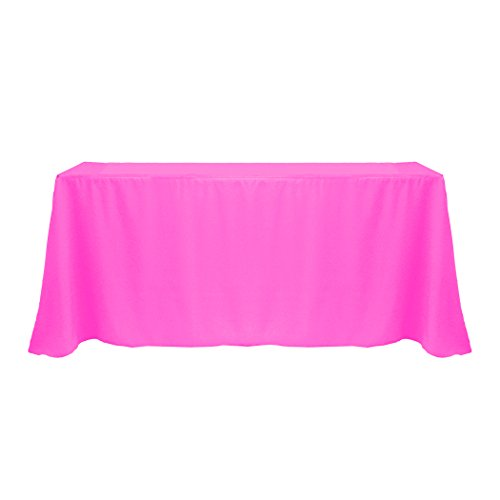 Ultimate Textile (3 Pack) 90 x 132-Inch Rectangular Polyester Linen Tablecloth with Rounded Corners - for Wedding, Restaurant or Banquet use, Neon Pink by Ultimate Textile