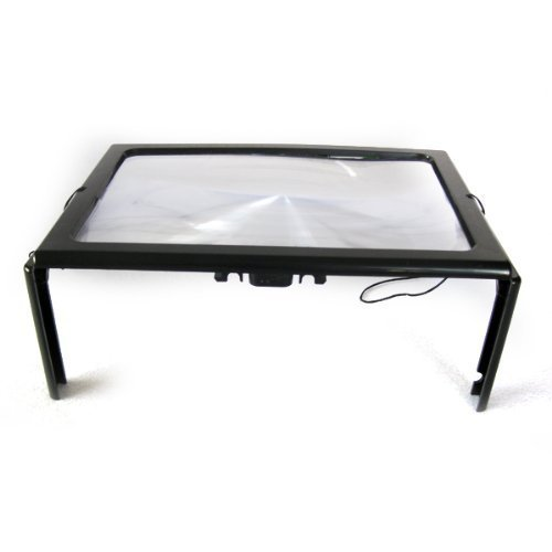 Genled A4 Full Page Large Hands-Free Page Magnifier with LED Lights,Work for Reading, Inspection, Repair, Needlework, Hobby and (Color Corrected Light Box)