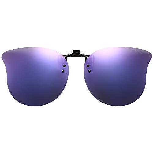 CAXMAN Polarized Cat Eye Clip On Sunglasses Over Prescription Glasses for Women UV Protection Flip Up Purple Mirrored ()