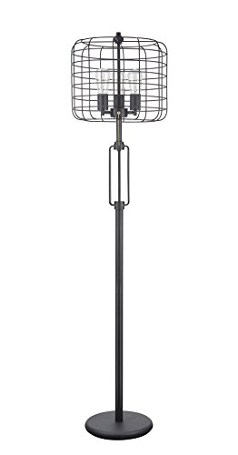 Aspen Creative Sand Black 45008, Wire Cage Metal Floor Lamp, Vintage Design 63″ High, Height