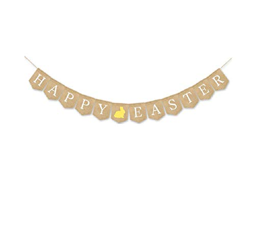 HAPPY EASTER Banner Burlap Bunting Garland with Rabbit