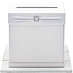 "Hayley Cherie - Gift Card Box with Rhinestone Slider & 7 Ribbon Colors - White Textured Finish - Perfect for Weddings, Baby Showers, Birthdays, Graduations - Large Size 10"" X 10"""