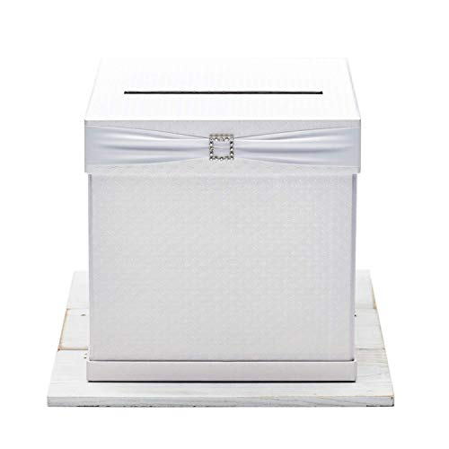 Optional Metal Finishes - Hayley Cherie - Gift Card Box with Rhinestone Slider & 7 Ribbon Colors - White Textured Finish - Large Size 10