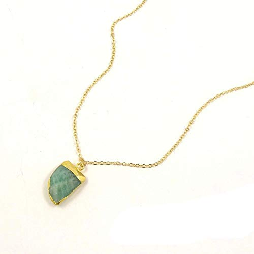 Natural Green Amazonite Tiger Nail Necklace/Genuine Stone Point Pendant
