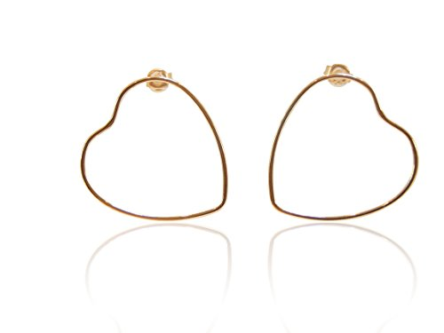 (Large Open Heart Stud Earring .925 Sterling Silver Gold-Tone Minimalist Jewelry Open Heart Post Pierced Earrings, BONUS extra clear earring backs (Gold Tone))