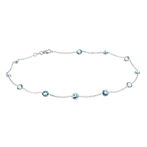 14k White Gold Handmade Station Bracelet With Round 4mm Blue Topaz Gemstones by amazinite