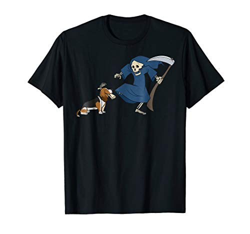 Basset Hound Grim Reaper Halloween T-Shirt Dog Shirt -