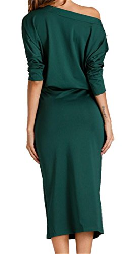 Elegante Verde Bodycon Una Manica Vestito Cromoncent Matita Spalla Dalla Delle Lunga Donne Del Militare 1r1TqZz