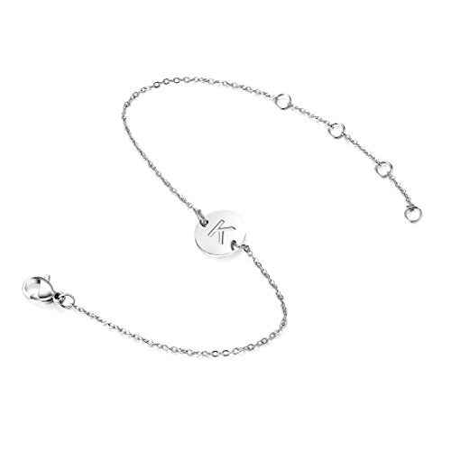 JOINONE Letter Charm Initial K Bracelet Thin Chain Silver Jewelry Friendship Gifts -