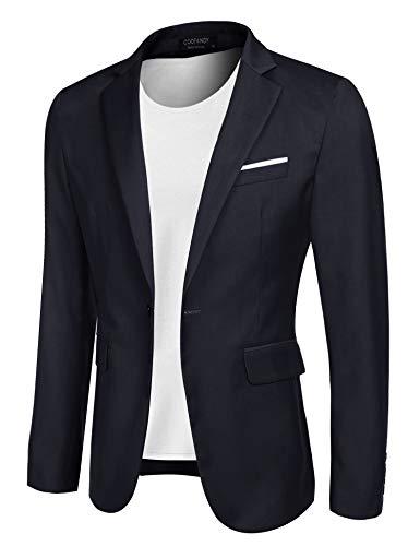 COOFANDY Men's Casual Blazer Jacket Slim Fit Sport Coats Lightweight One Button Suit Jacket (Navy Blue, X-Small)