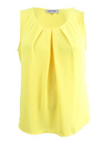 Kasper Womens Plus Newport Pleated Jewel Neck Shell Yellow 3X ()