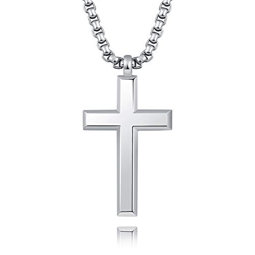 MONBO Father's Day Jewelry Cool Cross Pendant Long Necklace Classic High Polish Sterling Silver Cross Pendant Necklace for Men/Women