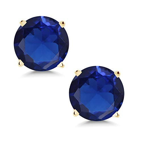Gem Stone King 1.50 Ct Round 6mm Blue Simulated Sapphire 14K Yellow Gold Stud Earrings