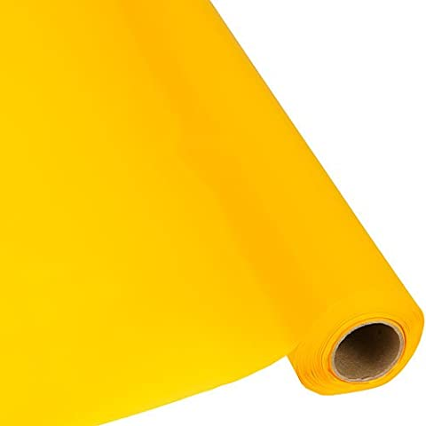 Plastic Party Banquet Table Cover Roll - 300 ft. x 40 in. - Disposable Tablecloth (Harvest Yellow)
