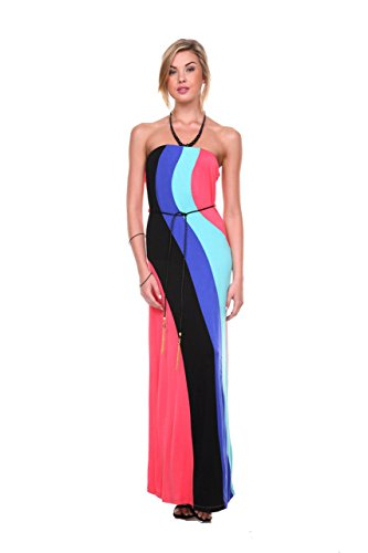 Stanzino Women's Colorblock Maxi Dress with Waist Tie