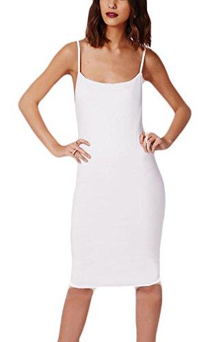 fashion Blanco Diario por Sólido Rodilla Vestido Espalda Verano Mujer Elegantes Descubierta Vestidos Casuales Sencillos Playa HX Vestidos Color Mangas Bodycon La Vestido Sin 4PqdB4