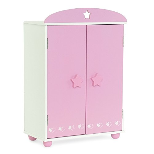 18-inch Doll Furniture | Pink Armoire with Star Detail Comes with 4 Clothes Hangers | Fits 18